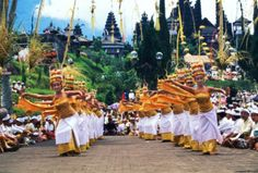 Indonesia, Bali, dancers during the ceremony in Besakih temple