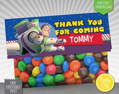 INSTANT DOWNLOAD - EDITABLE TEXT Pixar Toy Story Favor Bag Topper - Printable fold-over toppers featuring Buzz! Simply print, cut out, and attach