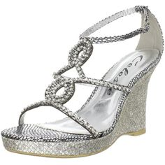 Silver sparkly bridal wedding wedges