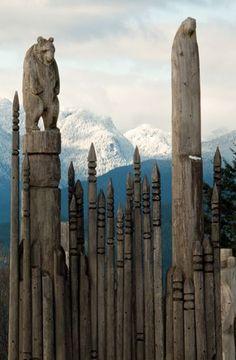 ~ Ainu totem poles ~ Burnaby Mountain, British Columbia, Canada~ by Robert D. MacNevin ~Via Madoka W-D-B Native Art, Native American Art, American Symbols, Native Indian, American Women, American Indians, American History, Vancouver, British Columbia