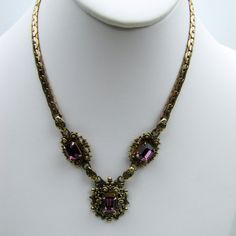 Czech Art Deco Necklace. Amethyst Glass Cushion Rhinestones. Taille D Epargne Enamel. Russian Gold Gilt Etruscan Filigree. Late Edwardian by MercyMadge on Etsy