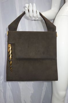 Vintage 50s60s PRESTIGE Dark Brown Suede Purse by Vintageables