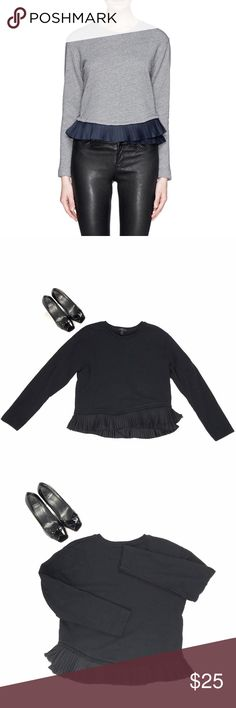 "J. Crew Ruffle Hem Sweatshirt Black This flirty and dreamy sweatshirt is in EUC and looks great with faux leather leggings and high waisted jeans. Wear alone for a casual look or add a button down to dress it up. RN #77588. Length (shoulder to bottom of hem) 20.5"", Armpit to armpit 20"", Sleeve length 22"". 100% cotton. All photos shown (except for cover photo) are pictures of the exact item for sale that I took myself. J. Crew Sweaters"