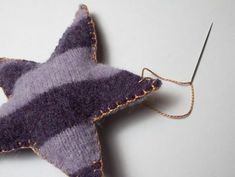 Upcycled wool sweaters turned ornaments