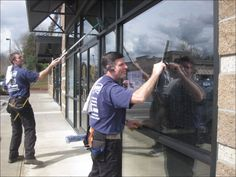 Jim Vaughn, (right) who turns 64 in a few weeks, will leave more of the window washing to son Brandon and two employees as he scales back his workload at All Clean Window Service in the coming years.