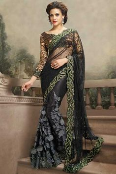 Black Net Embroidered Party and Festival Saree Sku Code:69-4190SA976014 $ 221.00