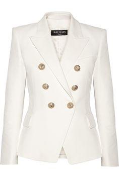 Balmain | Double-breasted basketweave cotton blazer | NET-A-PORTER.COM