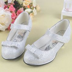 Silver Sequin Flower Girl Girls First Communion Dress Mary Jane Shoes SKU-133211