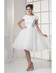 79.99  A-linje Bateau Neck Knälång Organza Bröllopsklänningar tillverkade  med Draperad av   Liten vit klänning. Klänningar ... 7cb6a48e00a63