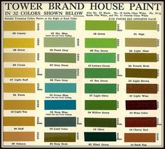 Tower Brand House Paint In 32 Colors Shown Below