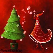 Marie Cardouat - Planting the Christmas tree illustrations French Christmas, Noel Christmas, Green Christmas, Christmas Pictures, Christmas Colors, All Things Christmas, Vintage Christmas, Christmas Decorations, Xmas