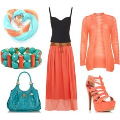 """""""mint and coral"""" by heike-muller on Polyvore"""