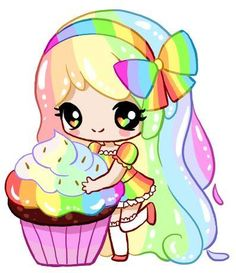 Cupcake with Rainbow Frosting by Silhh on DeviantArt Cute Anime Chibi, Kawaii Chibi, Kawaii Art, Kawaii Anime, Cute Easy Drawings, Cute Kawaii Drawings, Chibi Girl, Cute Characters, Cute Illustration