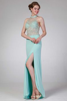 Beaded Prom Gown CD8741. Full Length, Sheath Shape Prom Gown with Halter Neckline, Sleeveless Unique Beaded Bodice, Open Back, Solid Color Slit Skirt, Zipper Back Closure. https://www.smcfashion.com/wholesale-prom-dresses/prom-gown-cd8741