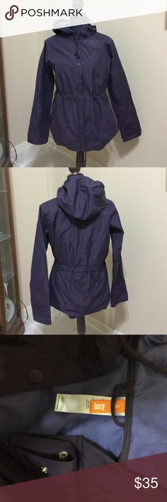 Lucy running jacket M Lucy running jacket color purple with hood and lining it's a pullover and has drawstring at waist in perfect used condition no flaws only washed once Lucy Jackets & Coats Utility Jackets