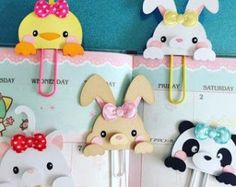 Bunny, Chick, Panda, Kitty and Fox Planner paper clip by MissKittysKreation Kids Crafts, Foam Crafts, Diy And Crafts, Paper Crafts, Paperclip Crafts, Paperclip Bookmarks, Handmade Bookmarks, Corner Bookmarks, Paper Clips Diy