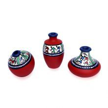 Maati Designs Hand Painted Pots Set of Three