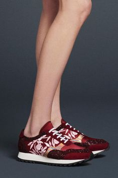 Fall 2015 Shoe Trends: Boots, Sneakers, and Heels From Fashion Week: Glamour.com ~ Markus Lupfer's Embroidered Sneakers.