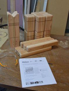DIY Wooden Kubb Game. #DIwYatt #patiogames #vikingchess #kubb