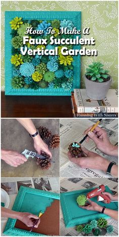 Faux Succulent Vertical Garden Made From Pine Cones. Painting pinecones to look like succulents, and framed then together to make this faux succulent vertical garden.