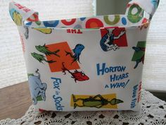 Cute Idea for Baby shower gift! Reversible Organizer Fabric Dr Seuss The Cat In The Hat Basket Bin Storage Dr Seuss Nursery, Fox Socks, Bin Storage, Organize Fabric, Gift Baskets, Baby Shower Gifts, Celebrations, Sewing Projects, Quilting