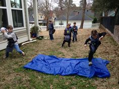 boys' knight birthday party activity: jump the moat with cannons being shot at you Picnic Blanket, Outdoor Blanket, Medieval Party, Knight Party, Party Activities, Old Boys, 5th Birthday, Year Old, Party Themes