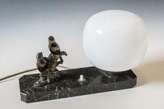 Online veilinghuis Catawiki: Art Deco tafellamp met twee vogels