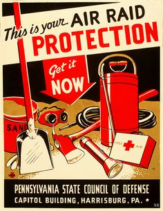 This is your air raid protection...get it now! #vintage #1940s #WW2
