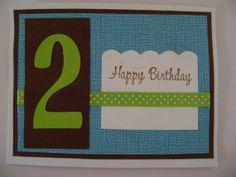 Handmade Card  Adorable Blue Green Brown Birthday by Sammark, $3.00