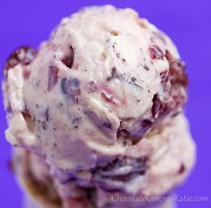 Quick & Easy Cherry Chocolate Chip FroYo: http://chocolatecoveredkatie.com/2013/05/24/chocolate-chip-cherry-garcia-frozen-yogurt-recipe/
