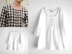 White pleated blouse for women japanese style top par bymamma190