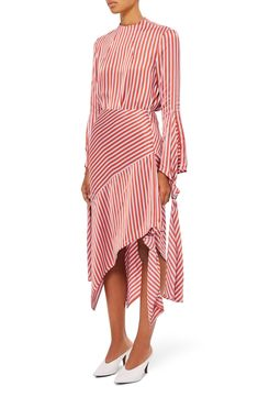 Topshop Boutique Striped Satin Midi Skirt - Size UK 8 — One Scoop Store Nice Dresses, Casual Dresses, Fashion Dresses, Topshop Boutique, Satin Midi Skirt, Striped Fabrics, Fashion 2020, Red Fashion, White Fashion