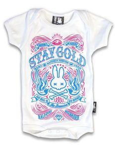Six Bunnies Baby STAY GOLD Strampler.Tattoo,Biker,Oldschool,Custom,Pin up Style