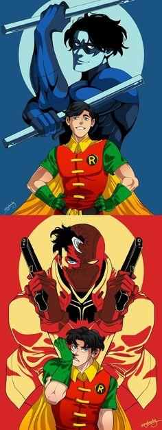 Nitwing and Red Hood Dick Grayson and Jason Todd Robins Batwoman, Nightwing, Batgirl, Batman Y Superman, Batman Robin, Robin Superhero, Batman Arkham, Batman Art, Tim Drake