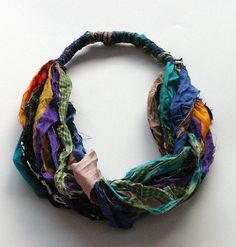 Silk colorful necklace, multicolored scarf from pure silk sari ribbon, winter gift for her