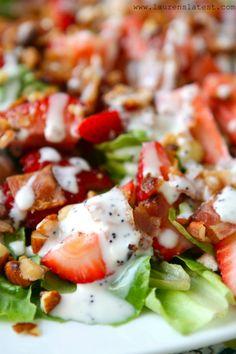 Strawberry Bacon Salad with Greek Yogurt Poppyseed Dressing | http://www.laurenslatest.com/strawberry-bacon-salad-with-greek-yogurt-poppyseed-dressing/ #salad #recipe