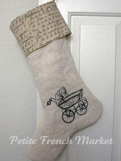 vintage burlap stocking