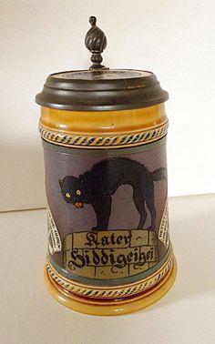 Antique Mettlach German1/2 Liter Stein Scared Black Cat, Signed F. Stuck #2007