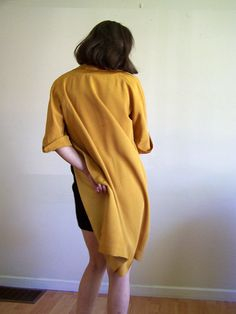 Vintage Mustard Yellow Coat  jacket with brass by HyacinthVintage, $75.00