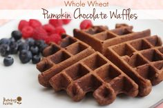 This healthy waffle recipe is Made with pumpkin, cocoa and a list of other healthy ingredients