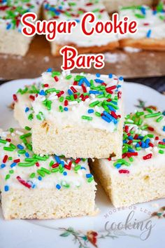 These Sugar Cookie Bars are a soft, sweet, and chewy vanilla crumb layer topped with a buttercream frosting and decorated with sprinkles. These delectable bars taste just like your favorite sugar cookie, but with a slathering of sweet and buttery icing. via @Mooreorlesscook Big Cookie, Sugar Cookie Bars, Cookie Brownie Bars, Cookie Dough, Best Pecan Pie, Pecan Pie Bars, Icing Recipe, Recipe For Mom, Pumpkin Cheesecake