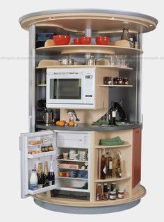 The Original Circle Kitchen Concept is a high-tech smart kitchen designed for city living. It is essentially a room within a room. This mini kitchen can be placed in any apartment, hotel room, vacation home or office. Round Kitchen, Mini Kitchen, Smart Kitchen, Kitchen Ideas, Kitchen Designs, Dorm Kitchen, Kitchen Unit, Island Kitchen, Kitchen Cabinets