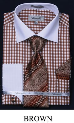 This Fratello men's french cuff dress shirt comes in small checker two tone and includes tie, hanky and cuff links. These unique dress shirts are a great compliment to your new suit and are available in cotton / polyester fabric. Sharp Dressed Man, Well Dressed Men, Mens Dress Outfits, Men Dress, Stylish Mens Fashion, Men's Fashion, Gentlemen Wear, Dress Shirt And Tie, French Cuff Dress Shirts