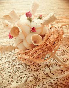Eco wedding design Bouquet di carta e cotone in stile country