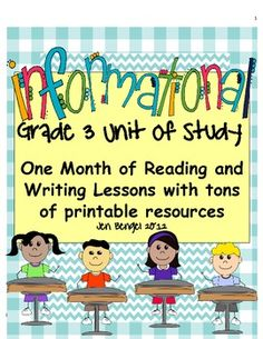 This 93 page reading and writing informational unit includes 40 lessons (20 reading, 20 writing) all linked to grade 3 CCSS...EVERY grade 3 reading informational CCSS is covered! It also includes descriptive details and chart examples for every lesson, read aloud examples, descriptions of both workshops, and several printable resources for the workshops! Teach students to write non-fiction and read non-fiction with this month-long unit. Units are also available for grades 4, 5, and 6!!