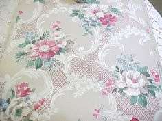 Vintage Wallpaper  Red Pink Blue White Floral by PatinaPaperie, $14.00