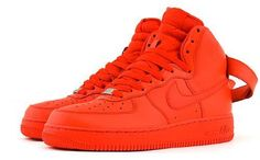 Just like the Metallic Silver Air Jordan I (1), this pair of Air Force Ones was also made specially for the women. As you can see they feature and solid red color scheme which is bound to turn heads no matter where you are. They are hi's and offer alot of ankle support. They are