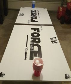 Star Wars Darth Vader Inspired Look, Star Wars Makeup, and Party Guys 21st Birthday, 21st Birthday Cakes, Birthday Table, Birthday Party Games, Frozen Photo Booth, Star Wars Party Games, Ultimate Star Wars, Beer Pong Tables, Sorority Crafts