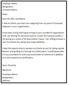resignation letter format with reason describing the reason of resignation as personal reason simple
