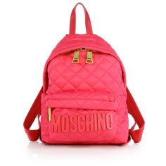 Moschino Small Quilted Nylon Logo Backpack ($446) ❤ liked on Polyvore featuring bags, backpacks, pink, handle bag, strap backpack, backpack bags, quilted backpack and quilted bags